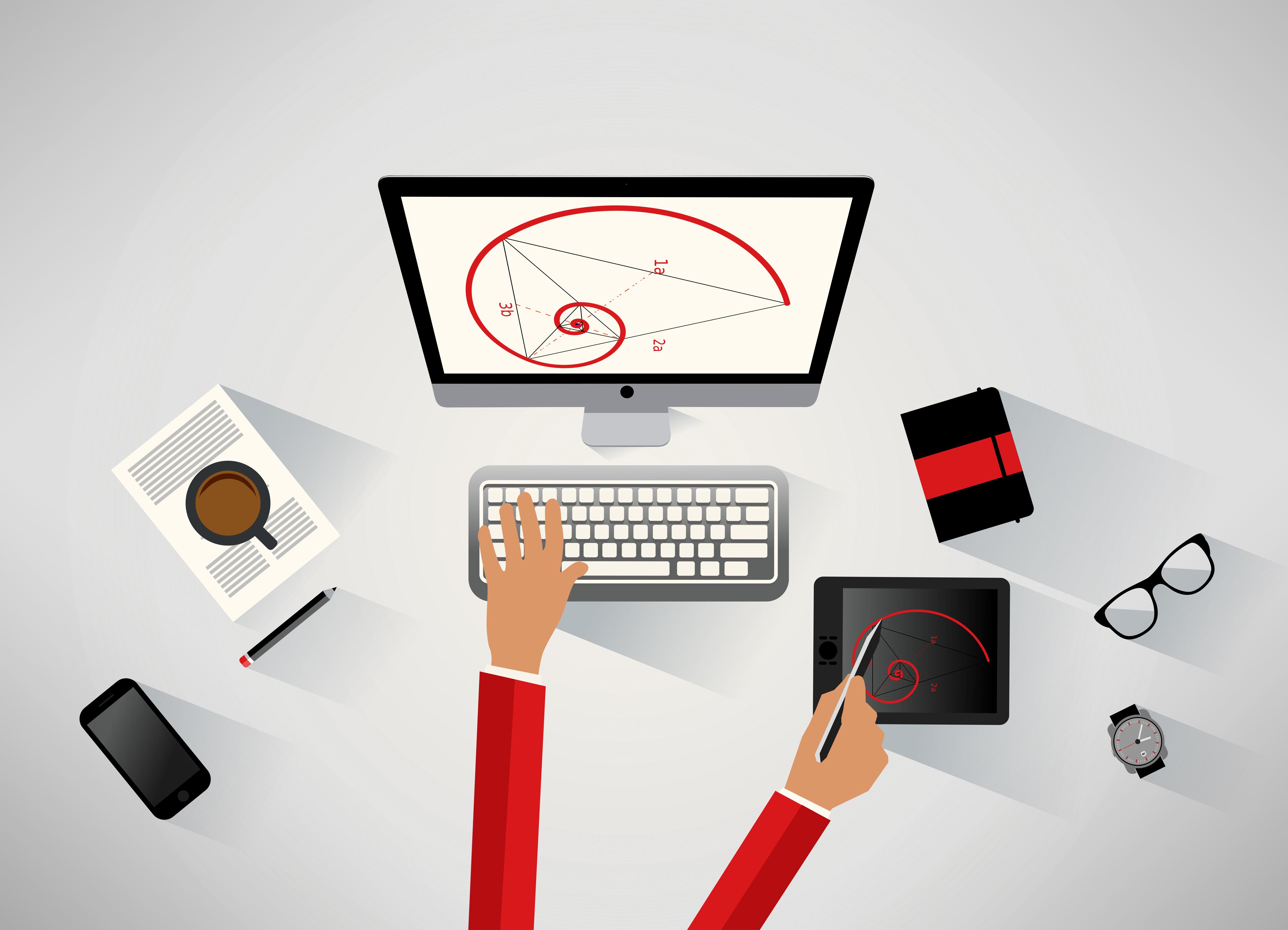 Designer working at the desk - Technical design concept